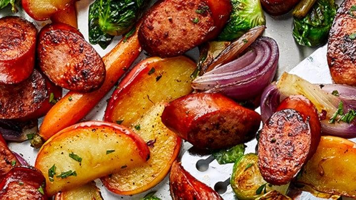 Sheet Pan Smoked Sausage, Apple, and Root Veggie Dinner