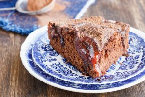 Chocolate cake with plums