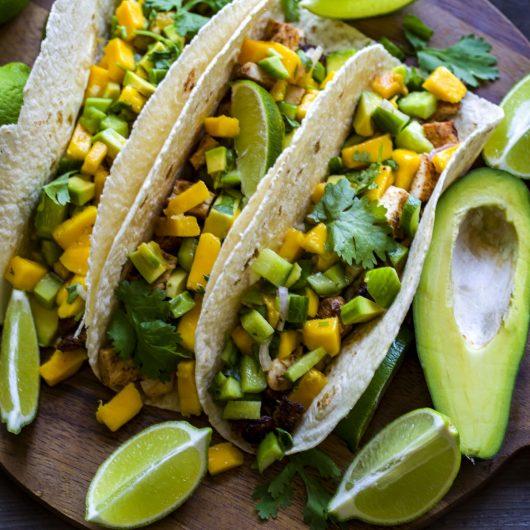 Chicken Tacos with Mango Avocado Salsa